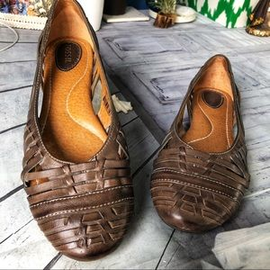 Fossil Leather Brown Flats